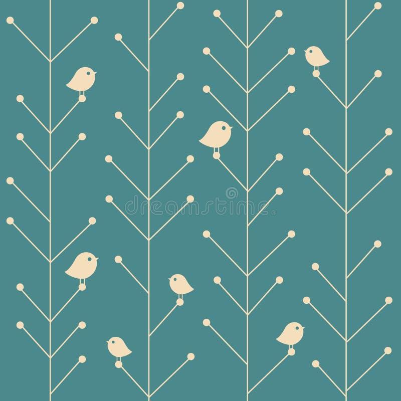 Wektorowego kreatywnie rocznika bezszwowi gałęziaści drzewa ilustracja wektor