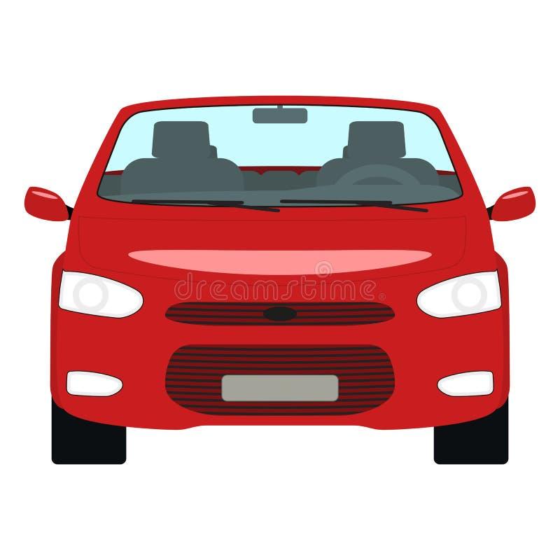 Wektorowego kreskówka czerwonego samochodowego kabrioletu frontowy widok royalty ilustracja