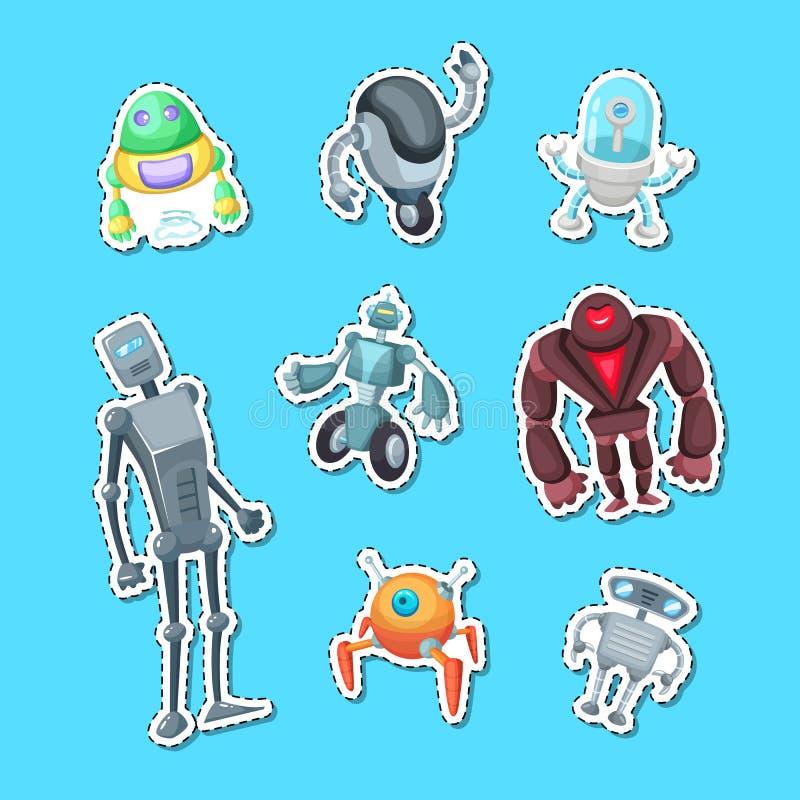 Wektorowego kreskówka robotów majcheru koloru ustalona ilustracja ilustracji