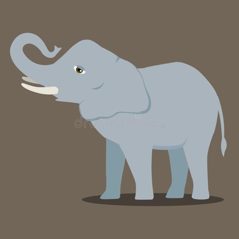 Wektorowego kreskówka słonia ssaka azjatykciego słonia wielki wklęsły tylny afrykański krzak z wielką ucho ilustracją odizolowywa ilustracja wektor