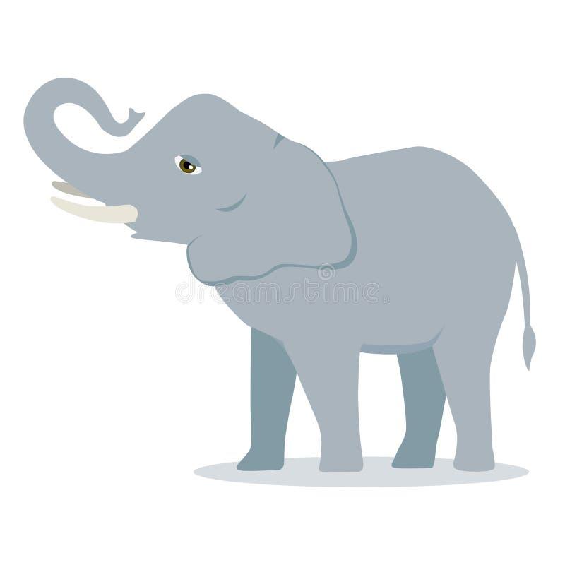 Wektorowego kreskówka słonia ssaka azjatykciego słonia wielki wklęsły tylny afrykański krzak z wielką ucho ilustracją odizolowywa ilustracji