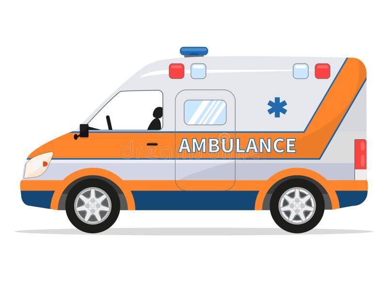 Wektorowego kreskówka samochodu dostawczego medyczny samochód, ambulansowy pojazd ilustracja wektor