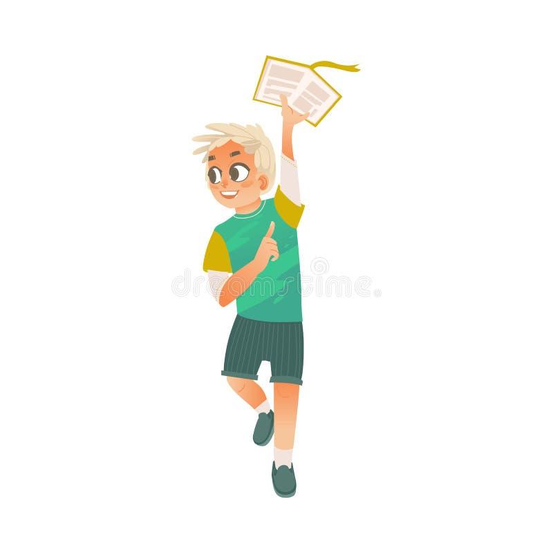 Wektorowego kreskówki chłopiec mienia otwarta książka nad głowa ilustracja wektor