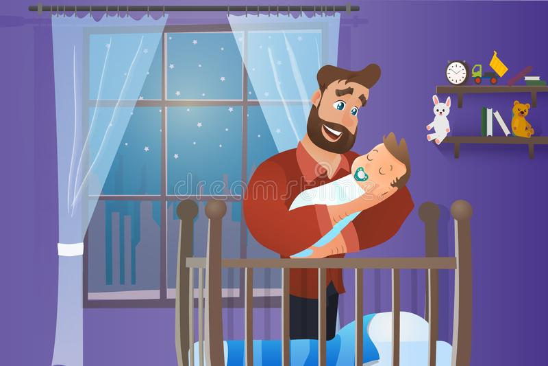Wektorowego kreskówki Ilustracyjnego pojęcia Szczęśliwy ojciec royalty ilustracja