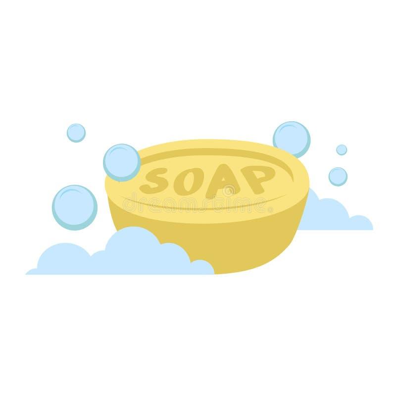 Wektorowego kreskówki mieszkania stylu owalu mydła wektoru żółta ikona niebieskie bąbelki Stylizowani kąpielowi akcesoria royalty ilustracja