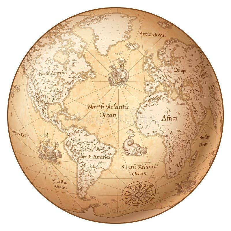 Wektorowego kula ziemska rocznika Światowa mapa royalty ilustracja
