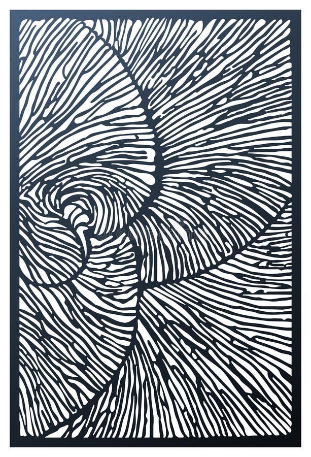 Wektorowego laseru rżnięty dekoracyjny panel Abstrakta wzór z naturalną teksturą jest biomorphic w formularzowym i inspiruje z na ilustracji