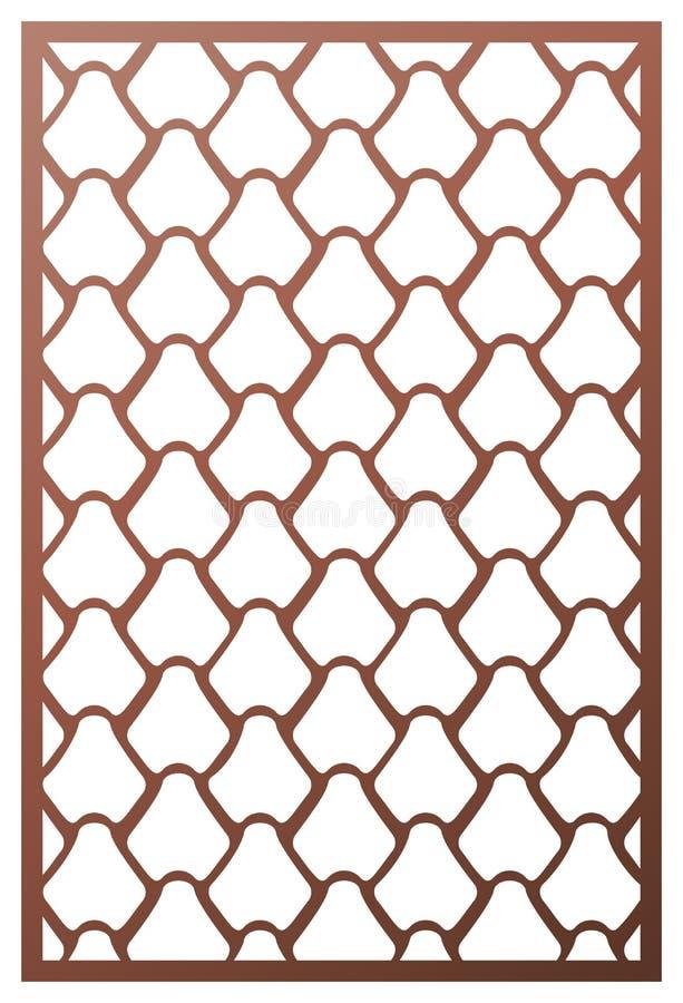 Wektorowego laseru rżnięty panel Deseniowy szablon dla dekoracyjnego panelu Ścienni panel lub rozdział Wyrzynarki kostka do gry c ilustracja wektor