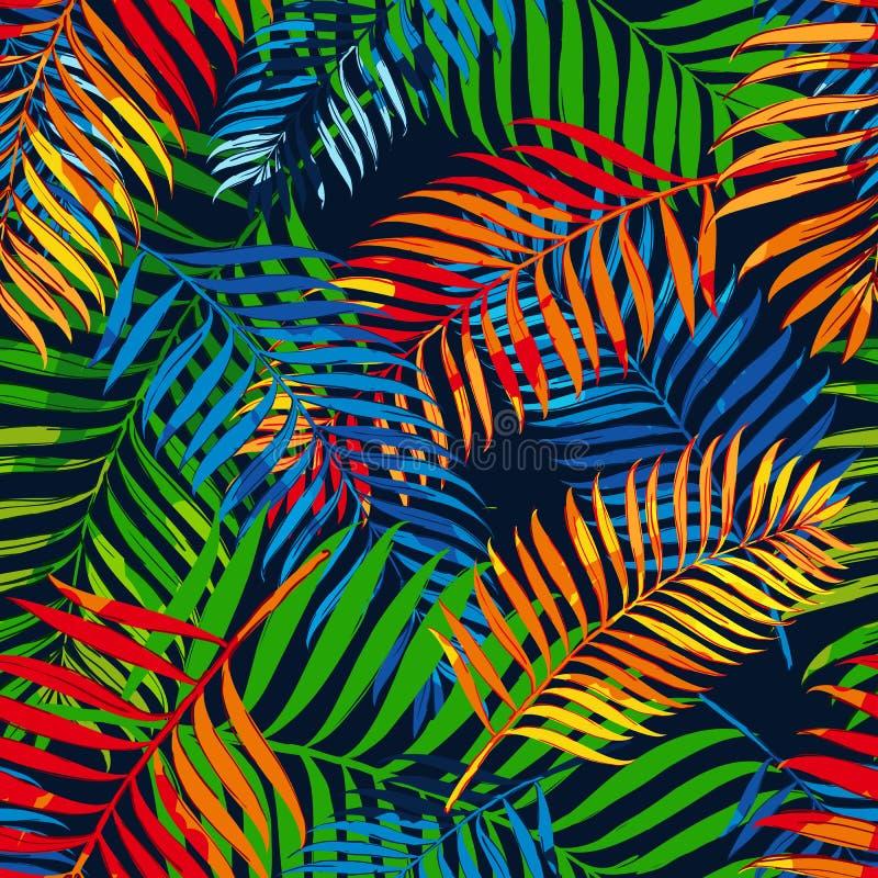 Wektorowego lata bezszwowy wzór z kolorów palmowymi liśćmi Projekt dla mody lata tekstylnego druku, opakunkowy papier, sieć ilustracji