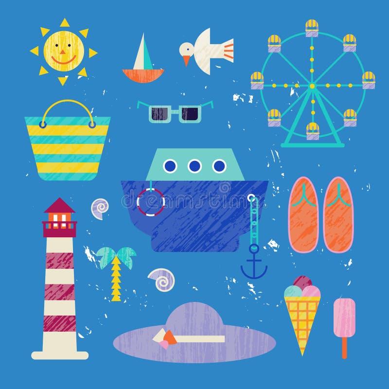 Wektorowego lata kolorowa ilustracja, podróżowanie, wakacje Set denni przedmioty, odosobniony na błękitnym tle royalty ilustracja