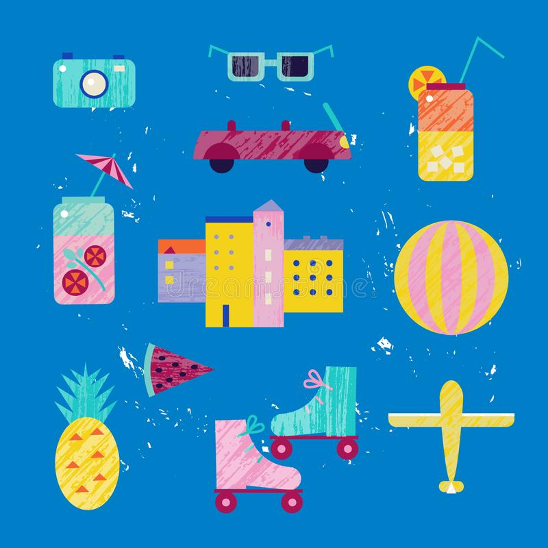 Wektorowego lata kolorowa ilustracja, podróżowanie, wakacje Set miasteczko, miasto, plażowi przedmioty, odizolowywający na błękit ilustracja wektor