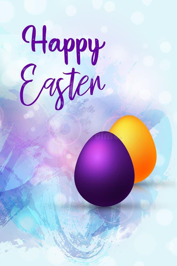 Wektorowego llustration Szczęśliwy Wielkanocny dzień Kolorowi Wschodni jajka na abstrakcjonistycznym akwareli tła kartka z pozdro royalty ilustracja