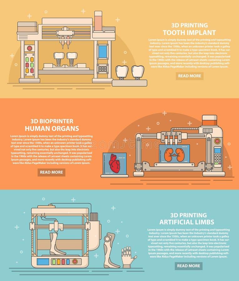 Wektorowego medycznego 3d drukowego mieszkania sztandaru cienki kreskowy set ilustracja wektor