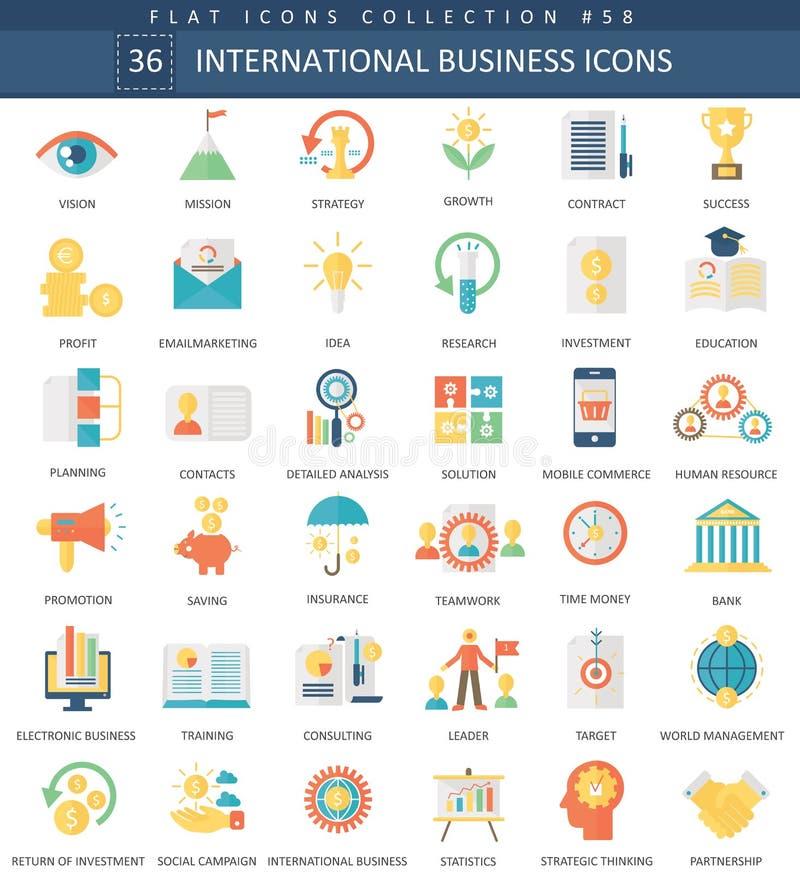 Wektorowego Międzynarodowego biznesowego koloru ikony płaski set Eleganckiego stylu projekta sieci Międzynarodowa biznesowa ikona ilustracja wektor