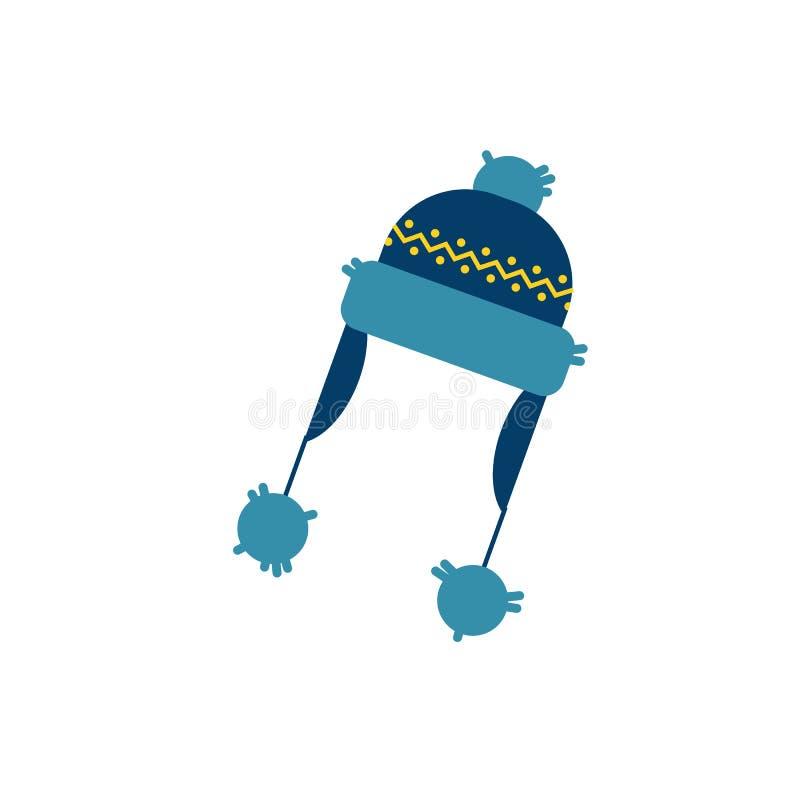 Wektorowego mieszkania trykotowy kapelusz z earflaps ilustracja wektor
