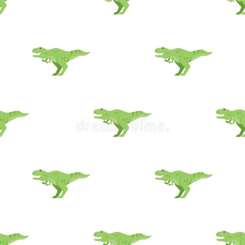 Wektorowego mieszkanie stylu bezszwowy wzór z zielonego dinosaura t-rex ilustracja wektor