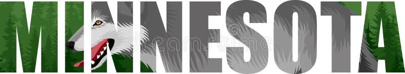 Wektorowego Minnestoa - amerykański stan słowo z wilczym i lasowym lasem royalty ilustracja