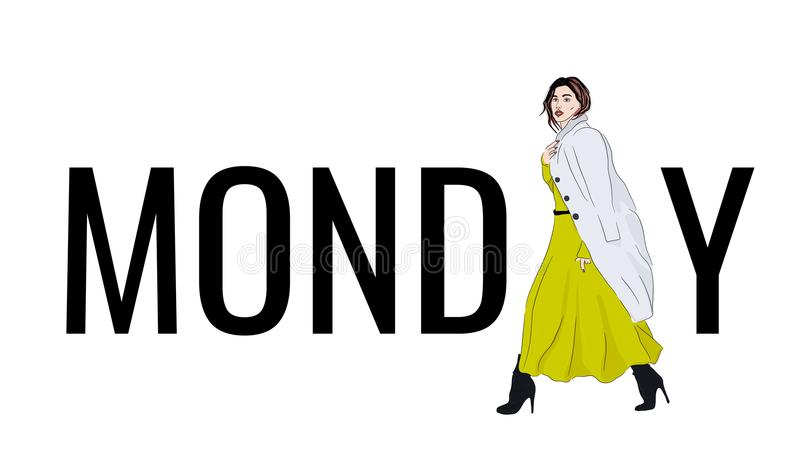 Wektorowego modela Poniedziałku strój Fasonuje ilustracyjnej dziewczyny w kontrast maksiej sukni i żakiecie, piękny nakreślenie P ilustracji