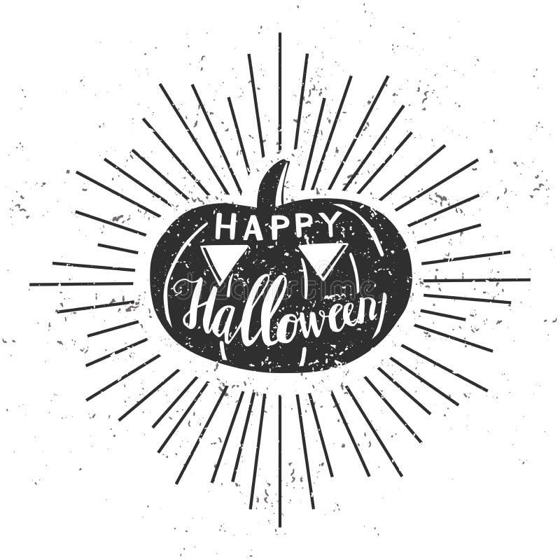 Wektorowego modnisia Halloweenowa ilustracja z banią i literowaniem royalty ilustracja