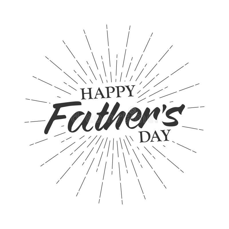 Wektorowego monochromatycznego teksta ojca ` s Szczęśliwy dzień dla kartka z pozdrowieniami, ulotka, plakat Szablon dla ojca dnia ilustracji