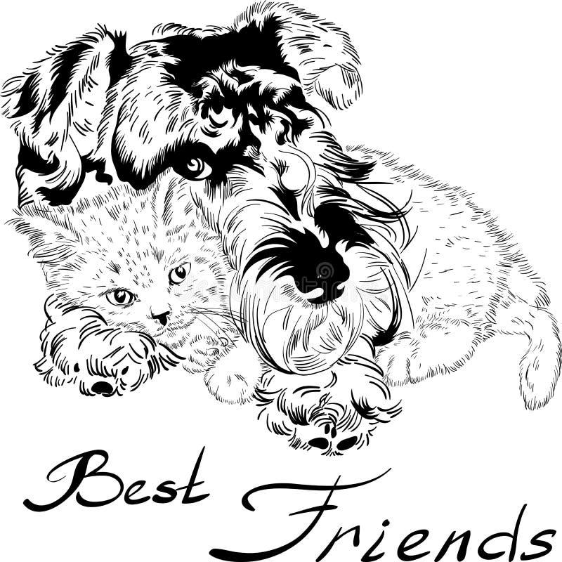 Wektorowego nakreślenia śliczny pies z kot ręki rysunkowym wektorem ilustracji