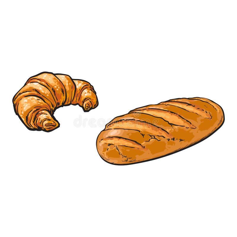 Wektorowego nakreślenia bochenka biały chleb, Croissant set ilustracji
