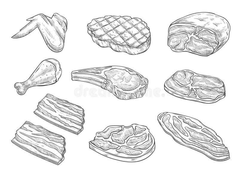 Wektorowego nakreślenia butchery kurczaka mięsne ikony ilustracji