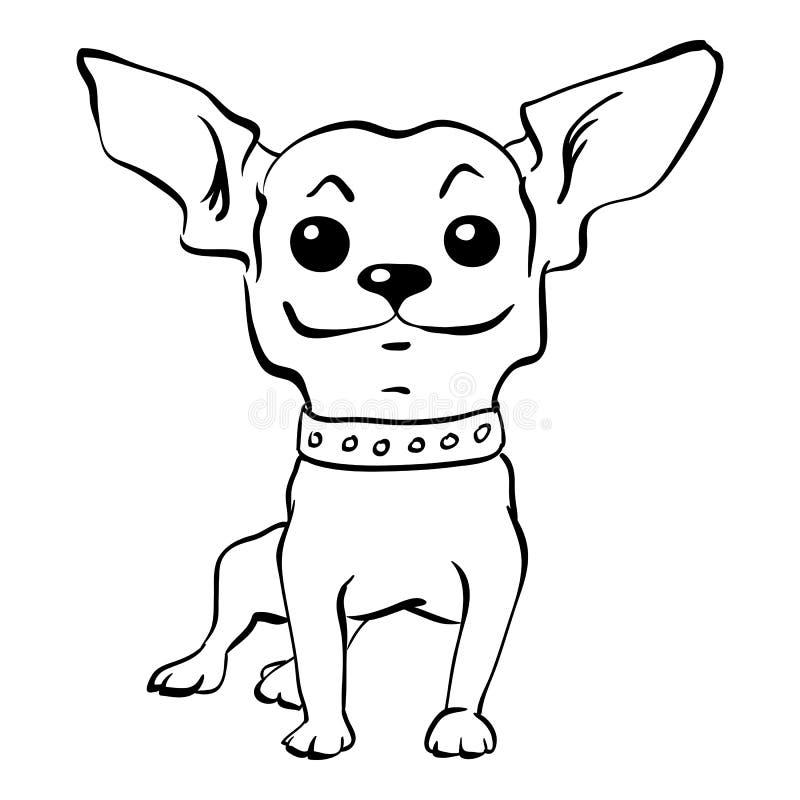 Wektorowego nakreślenia chihuahua psa śmieszny obsiadanie ilustracji