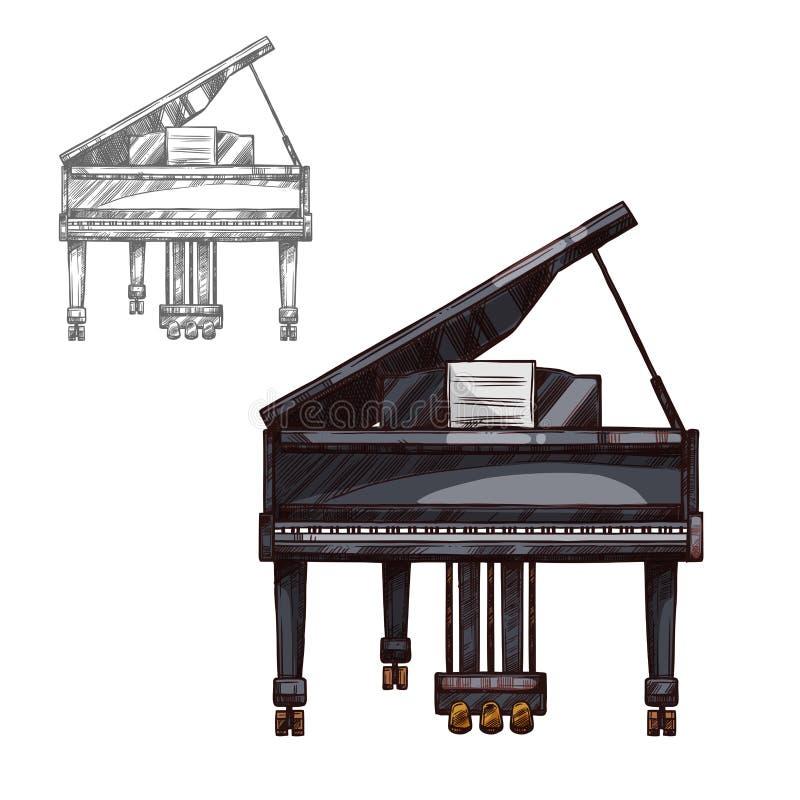Wektorowego nakreślenia fortepianowy muzyczny instrument royalty ilustracja