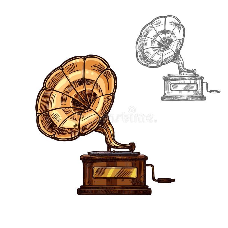 Wektorowego nakreślenia gramofonowy retro odtwarzacz muzyczny royalty ilustracja
