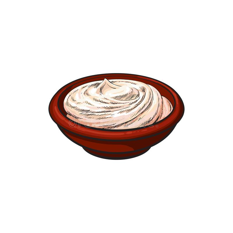 Wektorowego nakreślenia kwaśna śmietanka w ceramicznym brown garnku ilustracji
