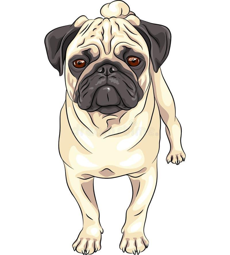 Wektorowego nakreślenia mopsa śliczny psi traken royalty ilustracja
