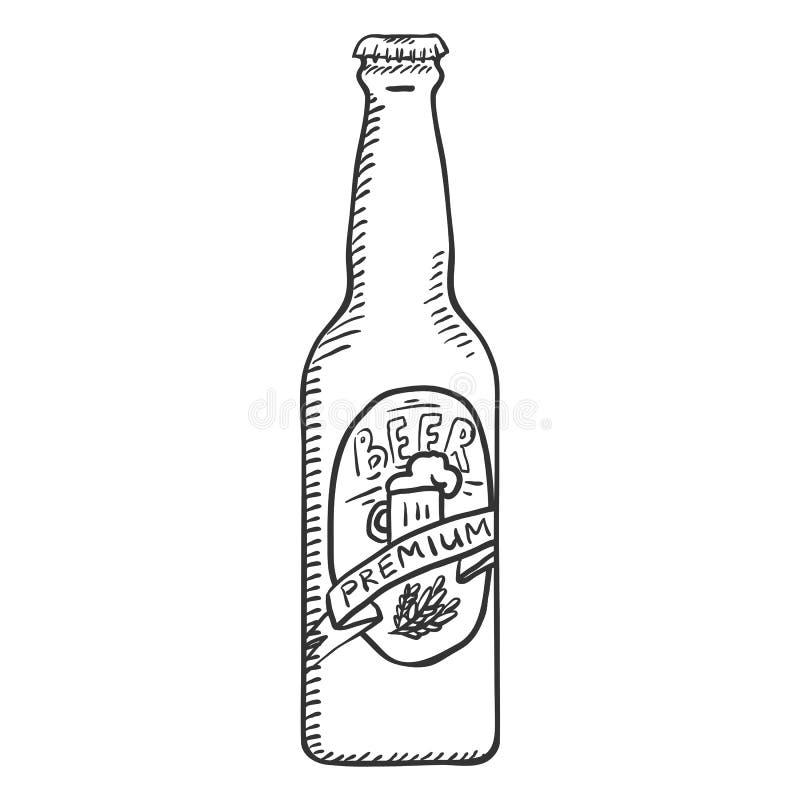 Wektorowego nakreślenia Szklana butelka premii piwo royalty ilustracja
