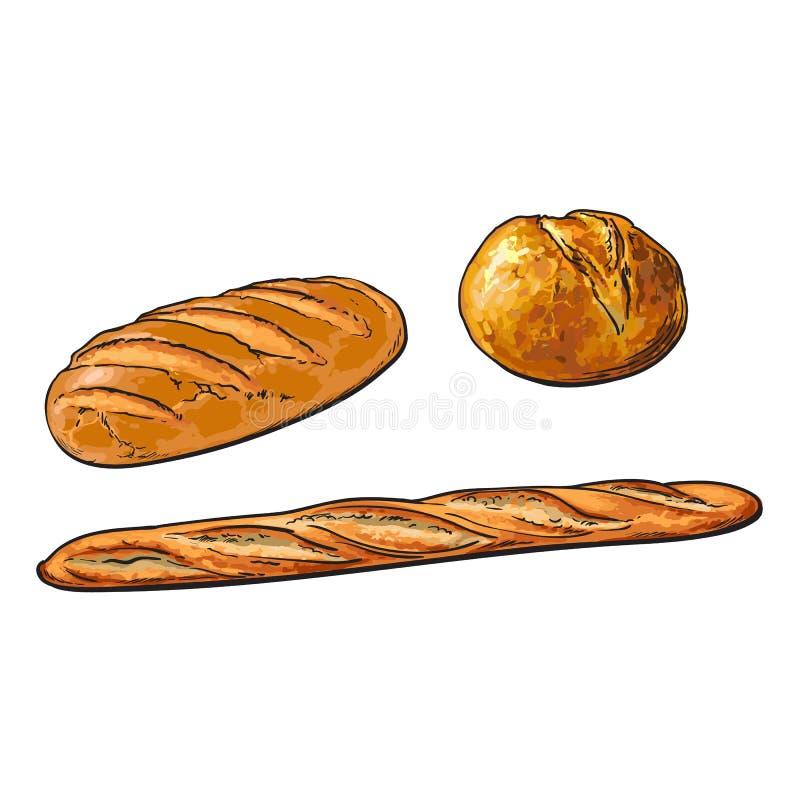 Wektorowego nakreślenie białego bochenka baguette chlebowy francuski set ilustracji