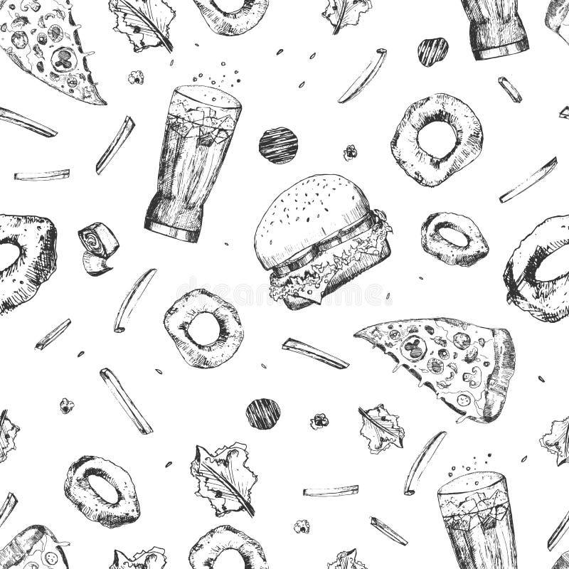 Wektorowego nakreślenie fasta food bezszwowy wzór Monochromatyczny szybkiego żarcia opakowanie z pizza plasterkami, hamburgerem,  ilustracji