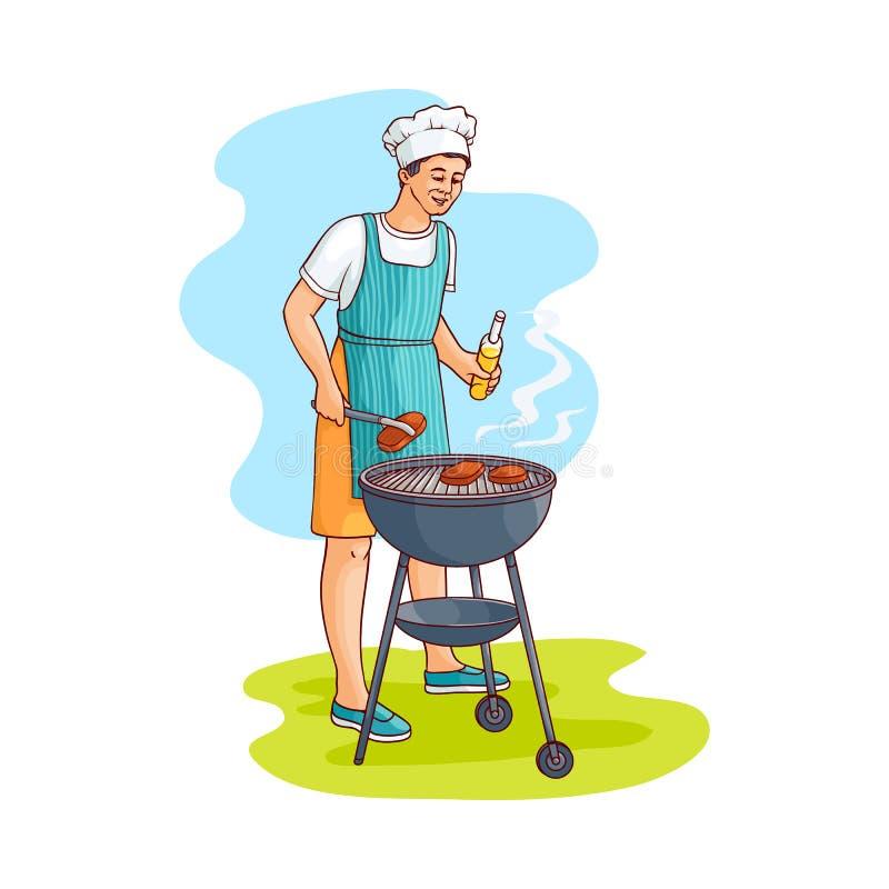 Wektorowego nakreślenie mężczyzna narządzania mięsny stek przy grillem ilustracji