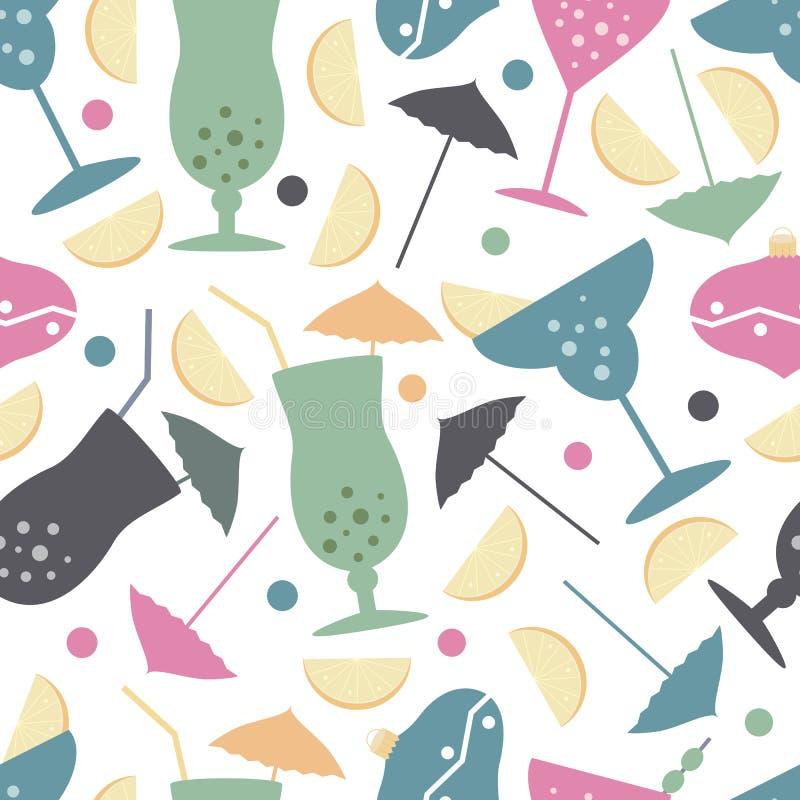 Wektorowego nowego roku bezszwowy wzór z umrellas, choinka bawi się, szkła, cytryny, oliwki royalty ilustracja