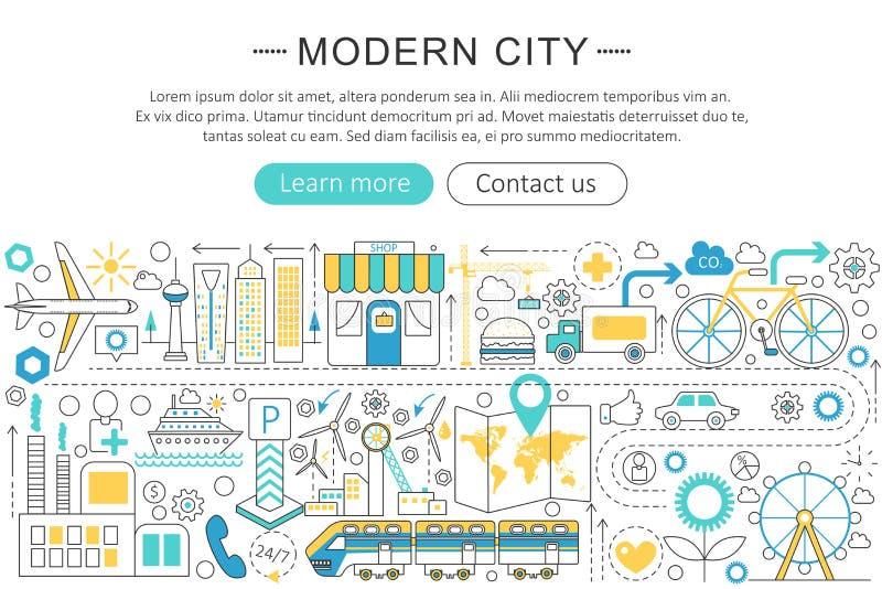 Wektorowego nowożytnego kreskowego płaskiego projekta miasta Nowożytny mądrze pojęcie ilustracja wektor