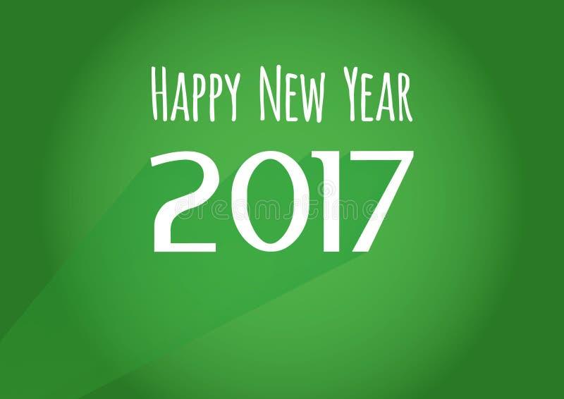 Wektorowego nowożytnego minimalistic Szczęśliwego nowego roku rocznika świętowania 2017 zielona karta - rocznik zieleń projektują ilustracji
