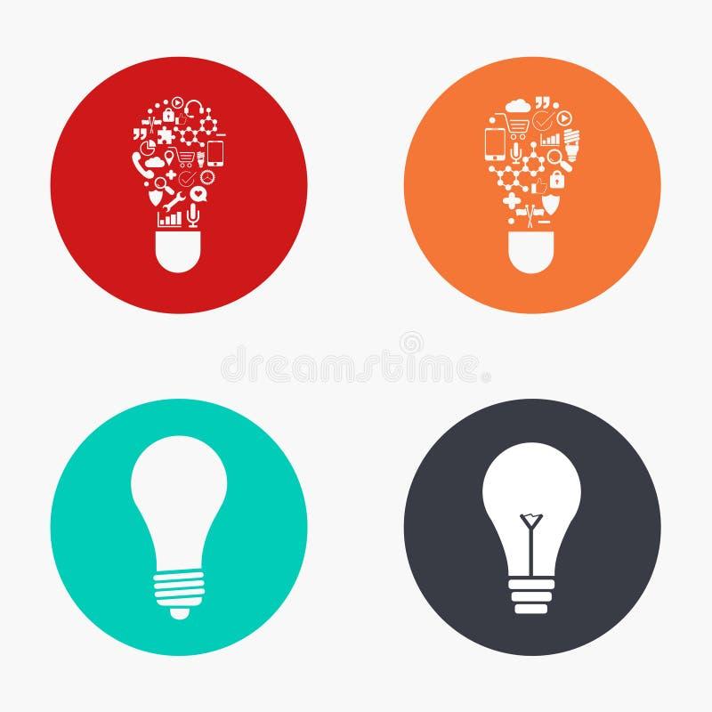 Wektorowego nowożytnego pomysłu kolorowe ikony ustawiać ilustracji