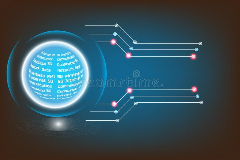 Wektorowego nowożytnego technologia interneta networking circuitry zaawansowany technicznie radio royalty ilustracja