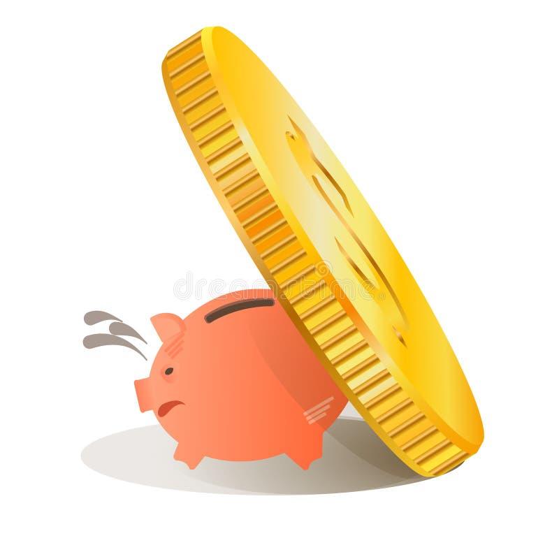 Wektorowego obrazka prosiątka świniowaty bank ilustracji