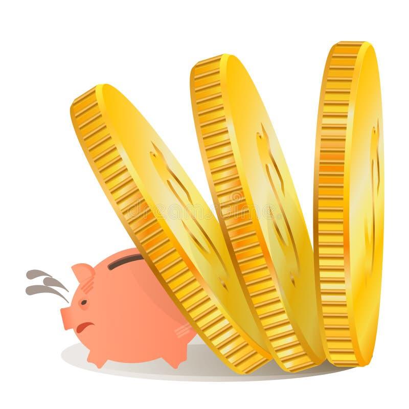 Wektorowego obrazka prosiątka świniowaty bank royalty ilustracja