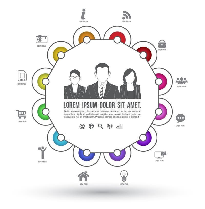 Wektorowego okręgu biznesowi pojęcia z ikonami ilustracji