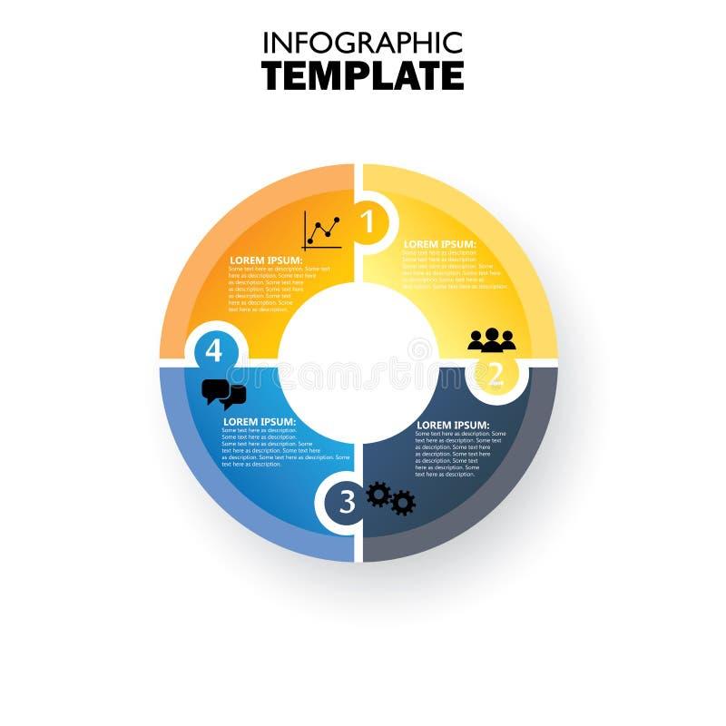 Wektorowego okręgu infographic szablon dla cyklu diagrama ilustracja wektor
