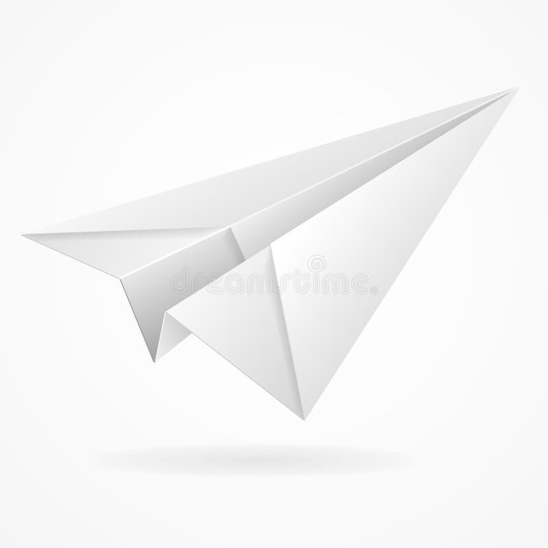 Wektorowego origami papierowy samolot na bielu ilustracja wektor
