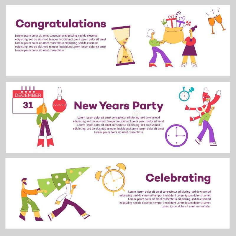 Wektorowego płaskiego boże narodzenie nowego roku wakacyjni sztandary ustawiający ilustracji