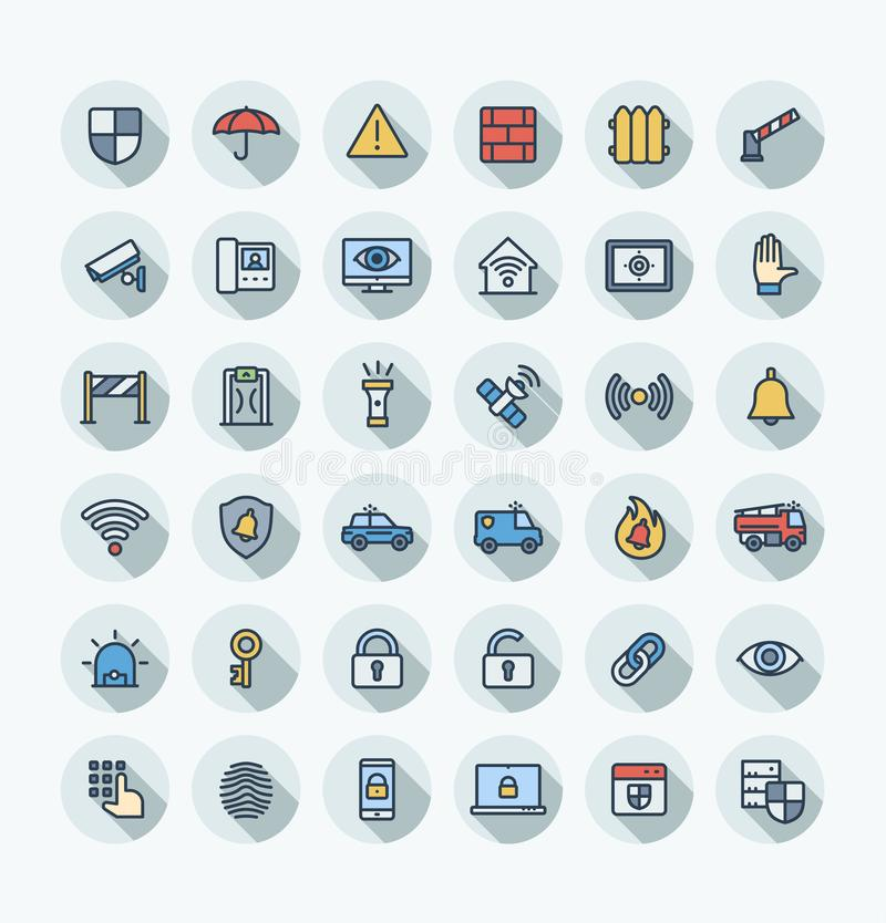 Wektorowego płaskiego koloru cienkie kreskowe ikony ustawiać z ochroną, cyber konturu zbawczy symbole royalty ilustracja