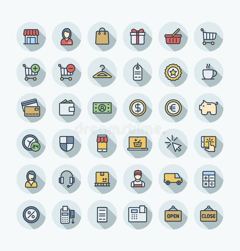 Wektorowego płaskiego koloru cienkie kreskowe ikony ustawiać z zakupy i handlem elektronicznym zarysowywają symbole ilustracja wektor