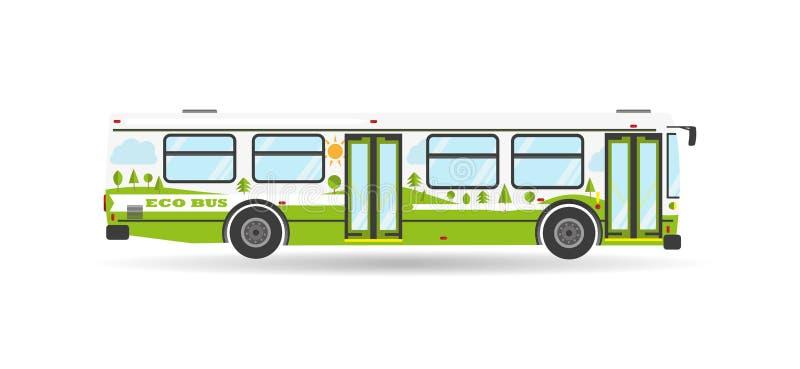 Wektorowego płaskiego miasta transportu publicznego przelotowy autobusowy pojazd ilustracji